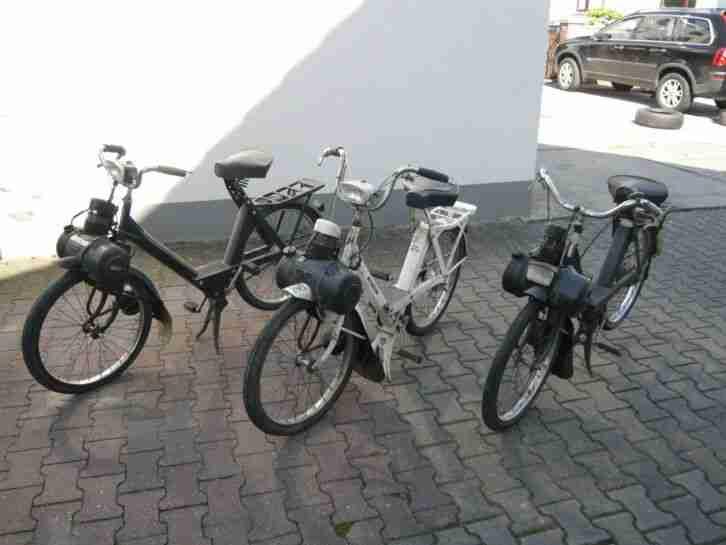 3 Velo Solex, 2x schwarz 1975 66, 1x weiß 1988, nicht fahrbereit