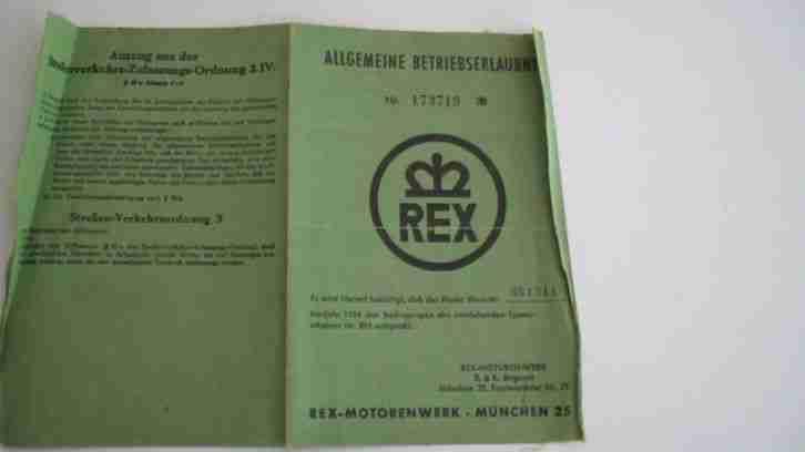 Allgemeine Betriebserlaubnis für Rex 504, 1956, Rex Motorenwerke München