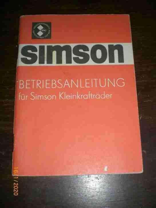 Betriebsanleitung für Simson Kleinkrafträder 1979