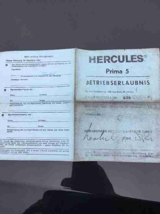 Betriebserlaubnis Hercules Prima 5 Versandkosten 0,60 Cent per Deutsche Post
