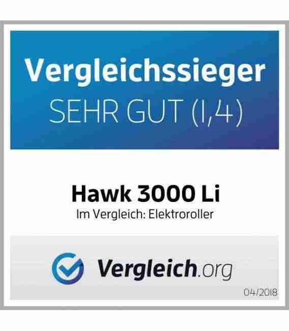 Elektroroller HAWK 3000 Li, Testsieger, 2 Li IonAkkus, 120 Km, Straßenzulassung