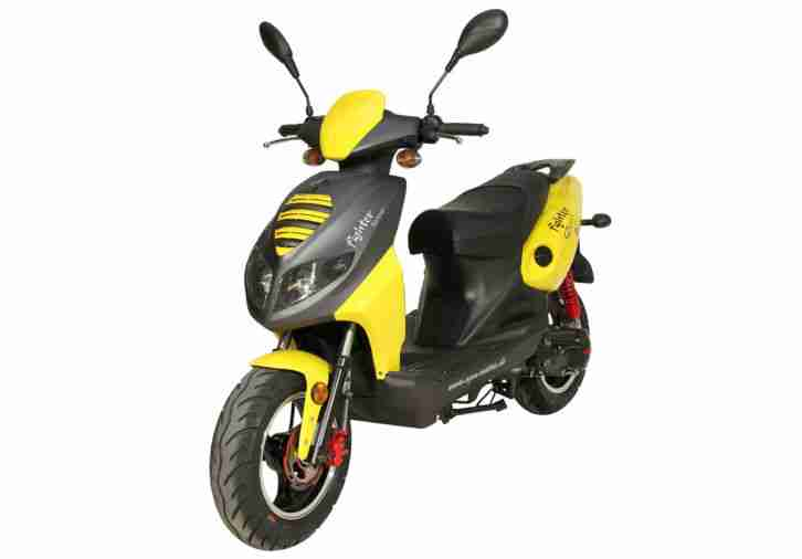 Fighter 50 Mofa Moped Roller 50ccm Scooter 45 km/h 2T Motorroller Scooter Mokick