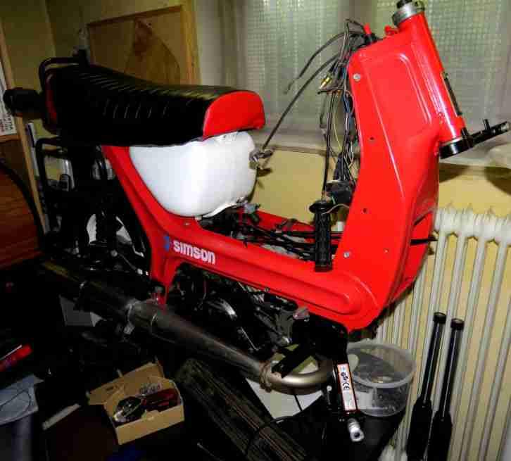 Gespann Simson SR50CE E Starter Halogen, 60km H Anhänger schöner Zustand