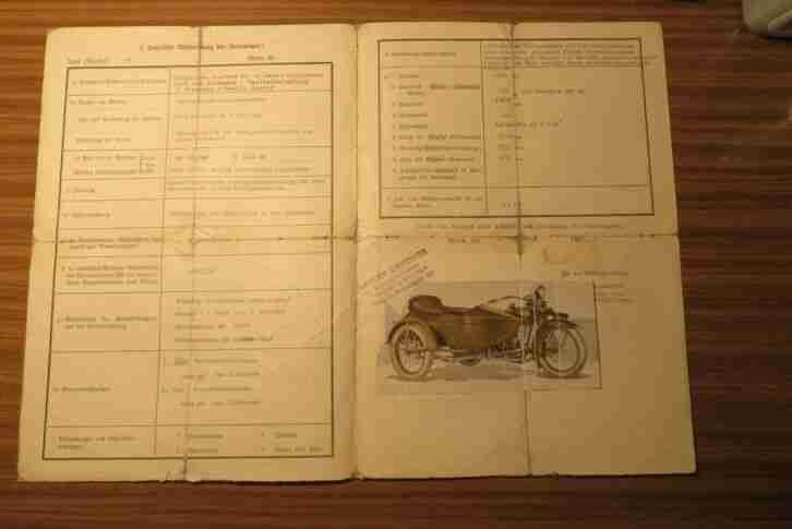 Harley Davidson Motorrad mit Beiwagen, Prüfungszeugnis Wien 1926