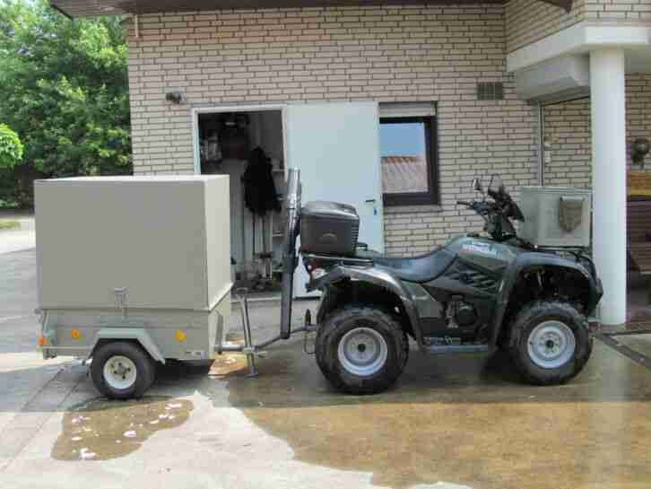 Kymco 500er Allrad Quad Anhänger Jagdausrüstung Grün Tarnfarben