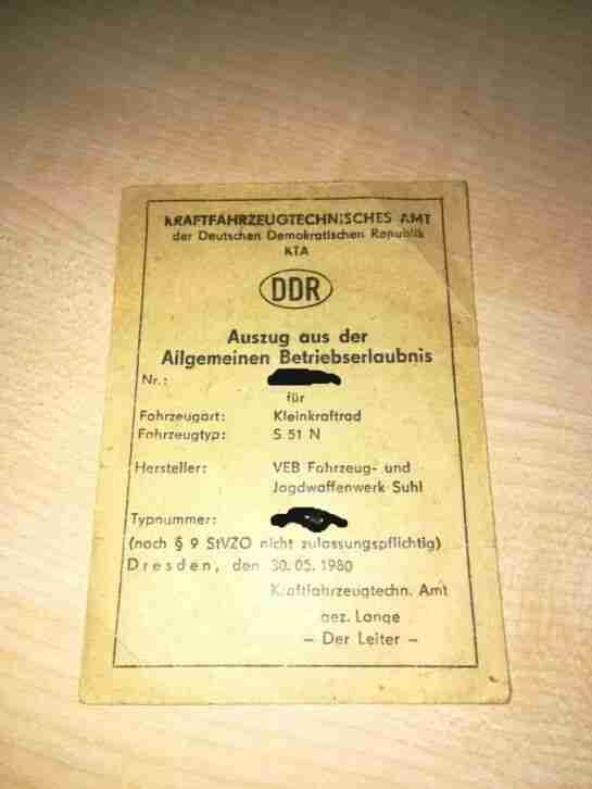 Original Papiere Betriebserlaubnis ABE Simson S 51 N Baujahr 1986