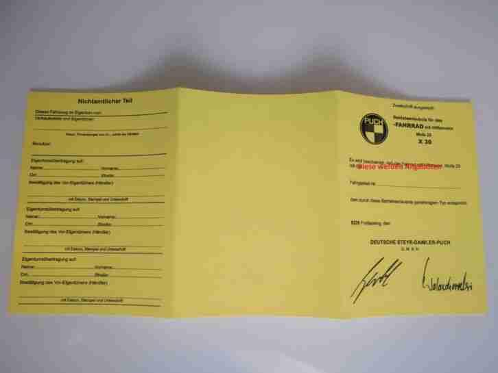 Puch Mofa X30 Betriebserlaubs ABE Papiere