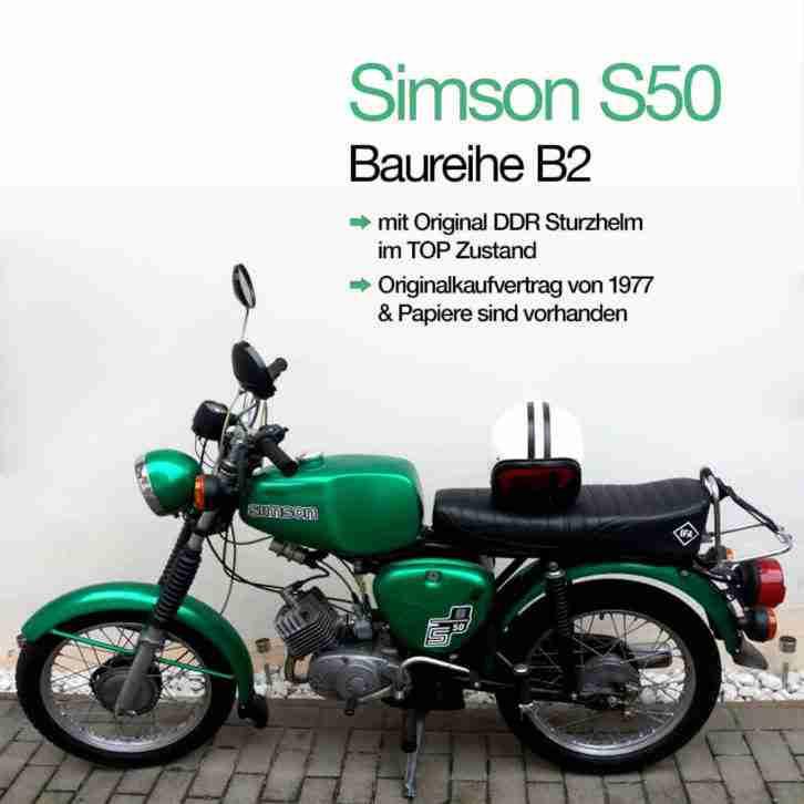 Simson S50, BJ 1977, Moped, Restauriert mit Papiere & Original DDR Kulthelm