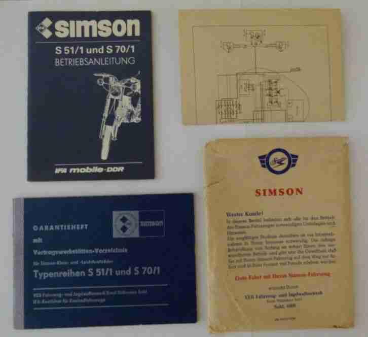 Simson S51 1 S70 1 Bedienungsanleitung Garantieheft IFA Mobile DDR Schaltplan