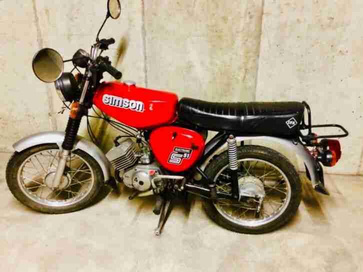 Simson S51 S 51 rot Bj 87 Oldtimer 50ccm 60 kmh dt Versicherung