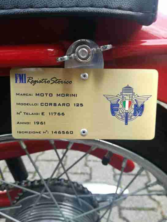 OLDTIMER MOTORRAD MOTO MORINI 125 CORSARO 4 TAKT BAUJAHR 1961 NEUWERTIG (FMI)